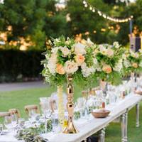 vasos para decorações de mesa de casamento venda por atacado-Ouro Castiçais 50 cm / 20