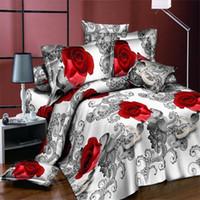 conjuntos de cama de rainha vermelha e rainha venda por atacado-Capa de edredão Set 3d Pintura A Óleo Cama Em Um Saco 3 pcs Conjuntos De Cama Queen Size Red Rose Comforter Bag Capa De Edredão Queen Size