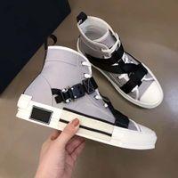 tarzı marka ayakkabıları toptan satış-Tasarımcı ayakkabı erkekler Kadınlar Teknik Örme Tuval YÜKSEK TOP Sneaker Toka Detayları Beyaz ve Siyah Kauçuk Sole B23 Marka Logo Yeni Stil ayakkabı