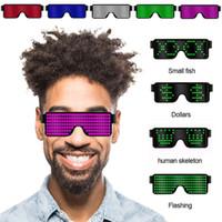 óculos de sol de óculos de natal venda por atacado-8 modos de flash rápido usb led festa usb cobrar óculos luminosos brilho óculos de sol concerto de natal luz brinquedos decorações de natal