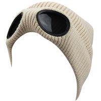 Wholesale crochet pilot hats resale online - Womens Mens Doulble Layers Winter Outdoor Acitives Skiing Snowboarding Warm Wind Goggles Glasses Pilot Fleeced Kint Crochet Beanie Hat Cap