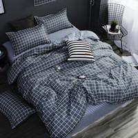 conjunto de folhas de cetim de prata venda por atacado-Têxtil para o lar AB lado conjunto de cama cinza geométrica cama housse de couekid conjunto de roupa de cama azul lençóis capa de edredão
