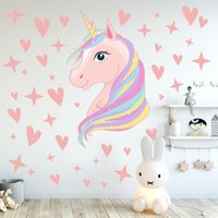 Wholesale wallpaper heart resale online - 60cmx36cm Children unicorn wall sticker Decal Kids Bedroom Decorations kindergarten pink girl heart INS home decor wall stickers Wallpaper