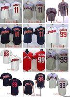 pulôver indiano venda por atacado-Atacado venda quente Indians # 11 RAMIREZ # 99 VAUGHN Coolbase Flexbase camisa de basebol do pulôver branco Camisas Costurado base Top Quality!