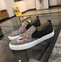 melhores pérolas negras venda por atacado-Melhor qualidade Sylvie sneaker logo sneaker mans real couro lona designer de moda sapatos de dança com tigre abelha pérola preto 34-46