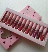 Wholesale nude lipstick free shipping resale online - 2017 Hot Makeup Love color lipstick suit Send Me More Nudes set Matte Lipstick Lip Gloss