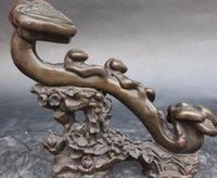 ingrosso supporto fiore nero-NUOVO + cinese Pure Black Bronze ma wishful Fiore Stand Ruyi Ru Yi Statue