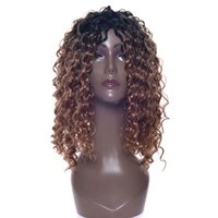 Wholesale medium hairstyles wig cosplay resale online - Medium Deep Wave Hairstyle Synthetic Hair Black to Brown Wigs Party Hair Cosplay Wig for Black Women Hairpiece