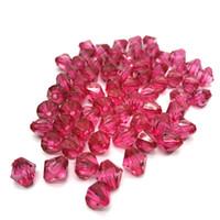 cuentas de acrílico rosa al por mayor-6mm 8mm 10mm Rosa Austria 5301 Cristal Bicone Facetado Granos de Acrílico Espaciador Suelto Perlas Redondas Joyería de DIY que hace