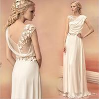 vestidos elegantes gregos venda por atacado-Vestidos de noite longo 2019 noiva princesa banquete de renda chiffon vestido de baile grego deusa elegante backless plus size formal dress