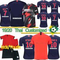 chico paris al por mayor-Maillots tailandés camiseta de fútbol PSG 19 20 Paris Mbappé DIALLO CAVANI entrenamiento de fútbol camisa de 2019 2020 Hombres Mujeres Niños kit establece S-4XL