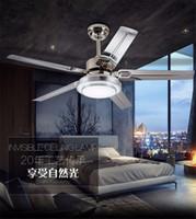 ingrosso soffitto regolabile-Ventilatore a soffitto 90-230V LED luce ventilatore regolabile luce ferro moda semplice lampada da soffitto 42/52 pollici ventilatore a soffitto