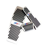 otomatik pedallar toptan satış-İle M logosu AT LHD BMW YENİ 3 Serisi Otomatik Alüminyum gaz hızlandırıcı fren ve ayak dinlenme pedal için hiçbir Matkap Gaz Fren pedalı