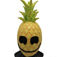 маскарадный костюм смешной оптовых-Latex Pineapple Mask Full Head Mask Easter Cosplay Costume Festival Party Supplies Funny Cosplay Halloween Masquerade Decor