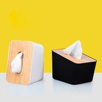 neuheit servietten großhandel-Neuheit Gewebe-Kasten-Plastikserviettenhalter Bambus-Abdeckung Gewebe-Halter Hauptdekoration Desktop-Organisator-Behälter-Neuheit