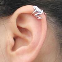 pendientes de envoltura de animales al por mayor-1 Par Trendy Animal Frog Ear Cuff Pendientes para Las Mujeres de Color Plata Pendientes de Clip Sin Piercing Joyería Wrap Joyería Del Partido