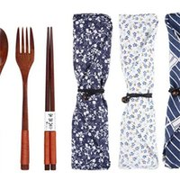 Wholesale brown forks resale online - Cloth Bag Student Opening Season Portable Gift Spoon Fork Chopsticks Three Piece Suite Woodiness Tableware Suit Hot Selling yf p1