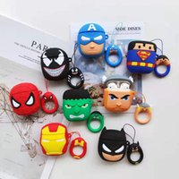 Wholesale airpods case shockproof online – custom 3D Cartoon Superhero Case for Apple AirPods Superman Batman Captain America Protective Shockproof Silicone Case Cover Pouch