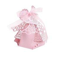 niedliche hochzeit handwerk großhandel-50pcs nette Karikatur-Mädchen-Hochzeits-Bevorzugungs-Kästen höhlen heraus Kraftpapier-Kasten für Geschenk-Süßigkeit-Bonbons aus