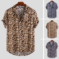 manschettenknopfkleidhemden für männer großhandel-Modemarke Kurzarm Männer Leopard Freizeithemden Herrenhemden Mit Manschettenknöpfen Social Mikrofaser Polyester Shirts