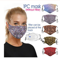 Wholesale face covering veil resale online - 3D Printing Sequin Mouth Mask Rhinestone Masquerade Crystal Face Veil Decoration Club Mask Bling Gold Glitter Face Dust Cover Party Mask