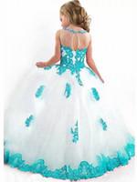 ingrosso palline bianche del vestito blu-Abito da ragazza di fiore di strass bordato di tulle bianco con perline di strass