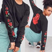 abrigo estampado rosa al por mayor-Mujeres Rose Imprimir Sudadera Jumper Suéter Crop Top Coat Deportes Pullover Tops impresión floral manga larga deportes yoga camisa de gimnasia # 198199