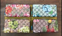 Wholesale hot flower photos for sale - Group buy 2019 Hot zippy wallet High quality PU Leather Fashion flower designer clutch famous brand clutch water ripple wallet no box G477