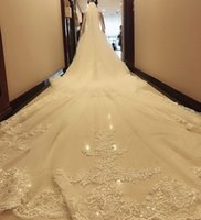 Wholesale 5m veils layer for sale - Group buy 2019 M Long Wedding Veils With Lace Appliqued Sequins Cathedral Length Bridal Veils With Comb Two Layers Wedding Veil