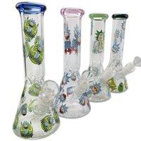 yeni cam etiketi toptan satış-Yeni alt beher bong sticker cam su borusu ile 14mm bowlcolors Recycler beher cam bongs dab rig nargile