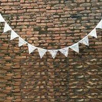 ingrosso ghirlande di avorio-Hot 12 pz bandiere 3.2 M Wihte Banner Bandiere Decorazione di cerimonia nuziale Romantico Vintage Shabby Avorio In Pizzo di Cotone Bandiera Bandiera Ghirlande Party Home Decor