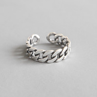 Wholesale silver bold resale online - 100 Sterling Silver Wide Bold Link Knot Twist Open Size Rings For Women Retro Silver Wedding Band Adjustable Statement Ring