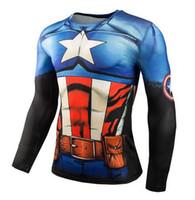 superheld kompressionsstrumpfhosen großhandel-Laufen T-shirt Kurzarm 3D Gedruckt Superheld Captain America Männer Kompression T-shirts Gym Fitness Bodybuilding Engen Tops