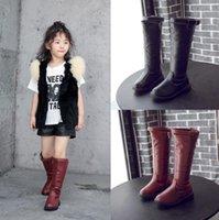 kış kar prenses çocuk ayakkabıları toptan satış-Kürk Çocuklar Kar Boots Kış Kadın Moda Boots Kızlar Prenses Diz boyu Martin Boots Çocuk Casual Spor Ayakkabı Sıcak Sneakers