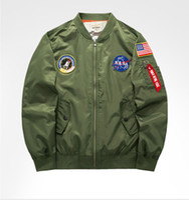 nasa neu großhandel-Neue NASA Männer Pilot Jacken Casual Bomberjacke 01 Herbst Brief Gedruckt Windbreaker Herrenoberbekleidung