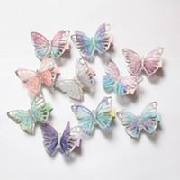 sevimli saç kelebek klipleri toptan satış-2019 Yeni Bebek Kelebek Tasarım Saç Klipler 20 adet / grup Sevimli Çocuklar Yenilik Saç Aksesuarları Toptan Gazlı Bez Glitter Kelebek Prenses Tokalar
