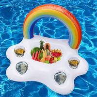 flotteurs gonflables achat en gros de-Porte-gobelets de boissons gonflable nuages piscine arc-en-ciel flotte nage piscine anneau jouets Beach Island supports gonflables partie jouet seau à glace MMA1967