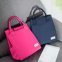 Wholesale lunch bags resale online - Stripe Print large Capacity Waterproof Lunch Bag Outdoor Carry On Drink Cold Handbag Pure color Small square Bag bolsa palha2020