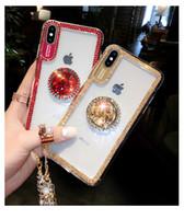 kordon açık durumda toptan satış-iPhone İçin Lüks Glitter Rhinestone Telefon Kılıfı 11 Pro Max Xr Xs X Vaka Elmas Parantez Temizle Caver iPhone 7 8 Artı Lanyard ile 6s 6 İçin