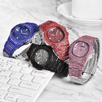 relógio apedrejado venda por atacado-Quartzo CZ Pedra Bling Homens Relógio Pulseira Hip Hop Congelado Fora Assista Pulseira Mens Relógios Moda Diamante Completa Data Pulseira De Relógio De Quartzo