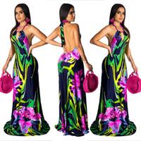 kapalı omuz bohem mini elbisesi toptan satış-Çiçek baskı yaz bohemian uzun dress kadınlar kapalı omuz backless kat uzunlukta dress vintage halter kolsuz beach dress