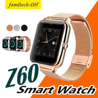 melhores telefones de relógio de pulso venda por atacado-Melhor venda z60 smart watch homens mulheres bluetooth wrist smart watch suporte sim tf cartão pulseira para apple android telefone