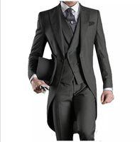 lila schwarze hochzeitsanzüge großhandel-Neue Ankunft Schwarz / Weiß / Grau / Hellgrau / Lila / Burgunder / Blau Frack Groomsmen Männer Hochzeit Anzüge (Jacke + Pants + Weste + Tie) NO: 2164