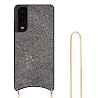 estojos de corda venda por atacado-Bling de silicone glitter lantejoulas de cristal macio tpu capa pendurado pescoço corda diamante phone case para huawei p30