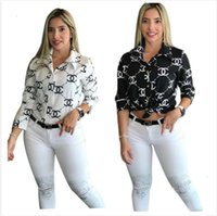 Wholesale dress black top white work for sale - Group buy 2019 Designer Blouses Fashion Letter Print Women Ladies Casual Office Button Front Bow Tie Neck Long Sleeve Slim Shirts Tops S XXL