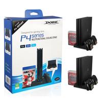 controlador ps4 más frío al por mayor-DOBE Dock Charger Cooling Fan para PS4 PS4 Slim PS4 PRO, Estante de disco más fresco Cargadores con doble estación de carga para Playstation 6PCS / L