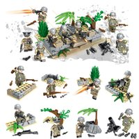juguetes alemanes al por mayor-Nueva llegada 8 piezas lote Mini figura de juguete militar de la Segunda Guerra Mundial Ladrillo WW2 La batalla de Berlín Bloque de construcción del ejército alemán