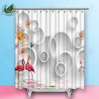 ingrosso tende bianche fiori rosa-Vixm 3D White Circle Fiore pianta Cartoon Pink Flamingo Tende da doccia Tende in tessuto di poliestere per la decorazione domestica