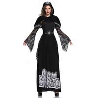 schwarze magische sexy frau großhandel-Lange Ärmel Black Magic Sorceress Gothic Kostüm Cosplay Hexe Kostüm Sexy Erwachsene Halloween Kostüme für Frauen