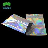 bolsas de cosméticos cerraduras al por mayor-Bolsa de cosméticos 100 piezas Bolsa con cierre de cremallera Bolsa de papel de aluminio Reutilizable Use bolsas de papel de aluminio Bolsa holográfica de 7.5x10cm (3 '' x 4 '')